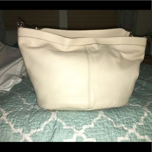 White leather escada purse